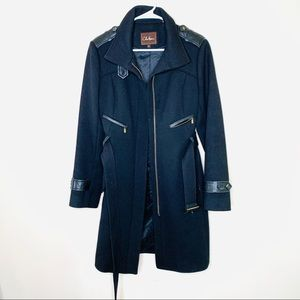 Cole Haan Wool Black Belted Coat
